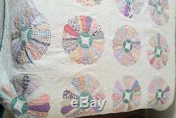 Vintage Age Unknown Old Pickle Dish Handmade Twin Size Quilt NICE ONE