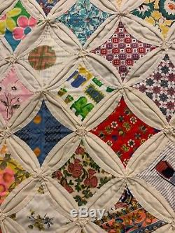 Vintage Amish Cathedral Window Handmade Quilt Beautiful! 69 X 82 1972