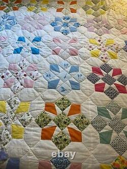 Vintage Amish Patch Work Quilt King Size Hand Made Country Home Large 106 X 81