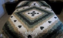 Vintage Amish Quilt Handmade Patchwork From Lancaster Pa. Ocean Wave 112x114