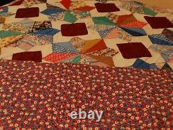 Vintage Antique 8 Point Pieced Star Handmade Hand Quilted Quilt Feed Sack FUNKY