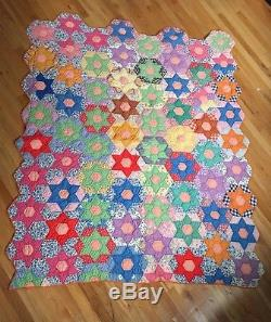 Vintage Antique Handmade 6 point Star Quilt Twin Great Condition