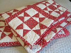 Vintage Antique Ohio Star Handmade Quilt Red White Hearts Floral 74 x 82