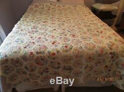 Vintage Antique Quilt Flower Garden Pattern 88 X 74 Handmade 1920's Or Earlier