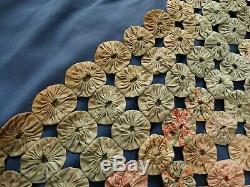 Vintage Antique YOYO YO YO Handstitched Handmade Pastel Quilt Coverlet Feedsack