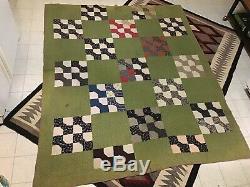Vintage Antique c1870 Bowtie Handmade Quilt Early Fine Print Fabrics 66x77
