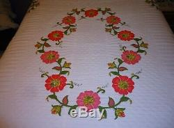 Vintage Applique Poppy Quilt Handmade Pink Yellow & Green Floral Pattern Beauty