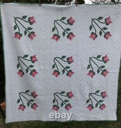 Vintage Applique Quilt Pink Green Flower 71 X 71