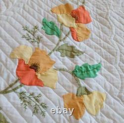 Vintage Applique Quilt Yellow Floral Poppies Dense Hand Quilting Stitched Full