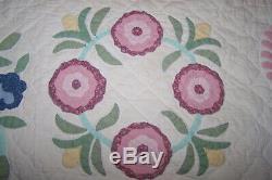 Vintage Arch Handmade Pastel Floral Applique Cotton Quilt 96W X84L FITS KING