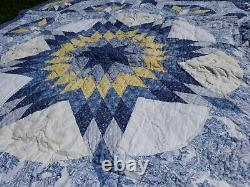 Vintage Asian Triangle Patchwork Quilt Handmade wall Hanging Large 60 x 60