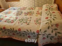 Vintage Baltimore Bride Quilt handmade Cross Stitch Full Queen 80 x 92