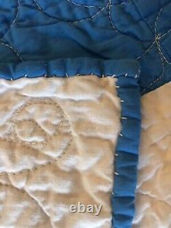 Vintage Blue And White Quilt Excellent Condition Handmade Clean and Bright