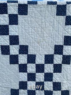 Vintage Blue/White Double Handmade Quilt 1940s