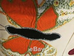 Vintage Butterfly Appliqued & Embroidered Quilt Top Blocks, Handmade