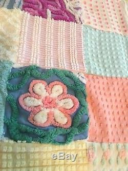 Vintage Chenille Bedspread/Quilthandmadeso many flowersKing/Queen92 x 82