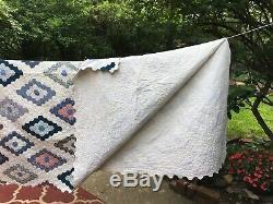 Vintage Colorful Handmade Patchwork Cotton Quilt Diamond Pattern