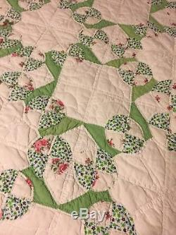 Vintage Cotton Hand Made/Hand Sewn Quilt Green White And Pinks