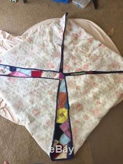 Vintage Crazy Quilt Vtg 60's Quilt Hippy Mod Quilt Handmade Vtg Crazy Quilt Top