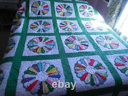 Vintage DRESDEN PLATE HANDMADE QUILT HAND STITCHED PATCHED PRISTINE 84X100
