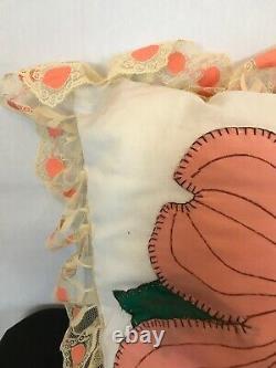 Vintage Dogwood Quilt Flower Handmade Green Peach Throw Pillows 89 x72