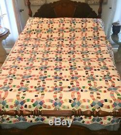 Vintage Double Wedding Ring Quilt Handmade Feed Sack Patchwork 90x82