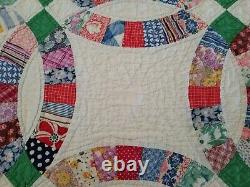 Vintage Double Wedding Ring Quilt Handmade Intricate Quilting 74x56