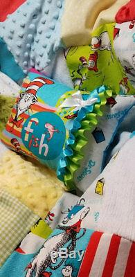 Vintage Dr. Seuss Cat in the Hat fabric Chenille Baby Crib Quilt Bedding Suess