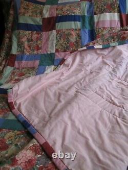 Vintage English Handmade Patchwork Quilt Sanderson Roses & Peonies 376cm X 250cm