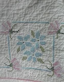 Vintage Estate Hand Made Cross Stitch White Quilt Comforter 87 X 76 Euc