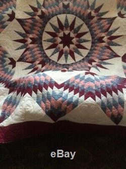 Vintage Exquisitly Hand Made Amish Sea-Theme Mariners Star Pactchwork Quilt King