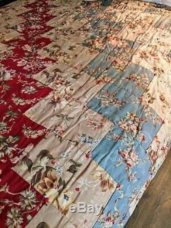 Vintage Farmhouse Shabby Chic Handmade Handtied Reversible Quilt 82 X 70