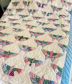 Vintage Feed Flour Sack Handmade Bird Butterfly Quilt Blanket 68x88
