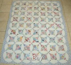 Vintage Feedsack Flour Sack Patchwork Quilt Handmade 61x76 Pieced Multicolor