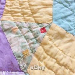 Vintage Feedsack Quilt Blanket Scalloped Hand Sewn Handmade 82 X 90