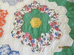 Vintage Feedsack Quilt-Grandmothers Flower Garden-Hand Quilted/Sewn