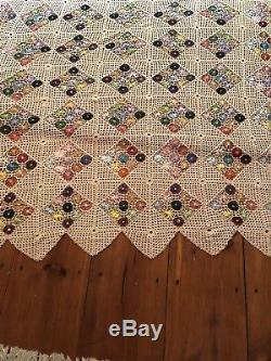 Vintage Finely Crochet Bed Spread Coverlet Handmade Scalloped Cotton Silk Quilt