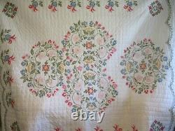 Vintage Floral Cross Stitch Quilt Handmade Hand Quilted 82 x 92