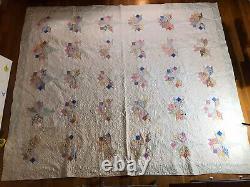 Vintage Flower Bouquet Quilt Multicolor Handmade 89x74.5