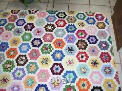 Vintage Flower Garden Quilt TOP 64 by 74 Hand made