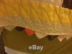 Vintage Full/Queen Handmade Patchwork Cotton Cabin Style Quilt Brown Multi-Color