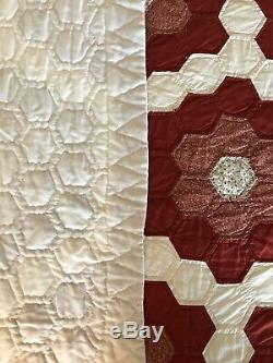 Vintage Grandmas Garden Hand Made & Quilted Quilt 109 X 90 5 Star Free Ship