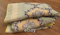 Vintage Grandmother's Flower Garden Finished Quilt Hand Stitched Green Yellow