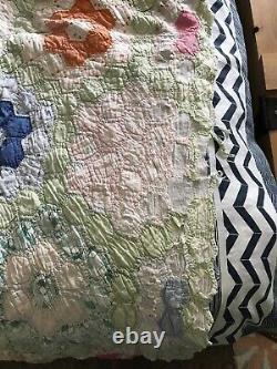 Vintage Grandmothers Flower Garden Cotton Handmade Feedsack Quilt