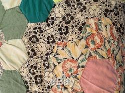 Vintage Grandmothers Flower Garden Pattern Cotton Handmade Feed sack Quilt