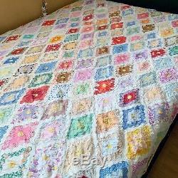 Vintage Grandmothers Flower Garden Quilt Feedsack Handmade Queen 70 X 94