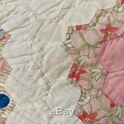 Vintage Grandmothers Flower Garden Quilt Feedsack Handmade Scalloped 76 X 90