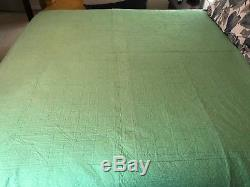 Vintage Green & White Handmade Geometric Diamond Pattern Quilt Bedspread 87x79