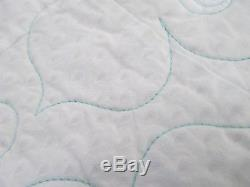 Vintage HANDMADE PATCHWORK QUILT, Irish Chain, KING 100 X 98, TEAL WHITE BEAUTY