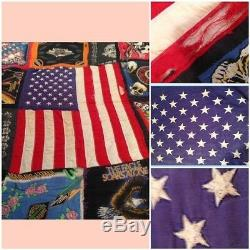 Vintage HARLEY DAVIDSON American Flag Handmade 72x77 Quilt Biker Blanket Throw